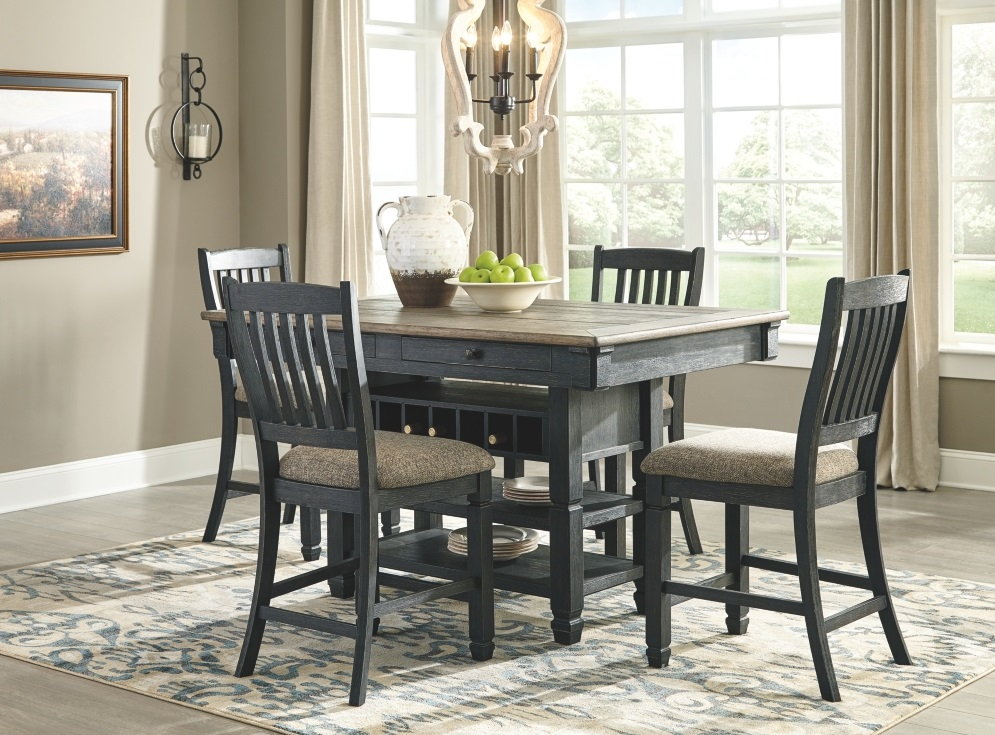 Signature Design By Ashley Tyler Creek 5 Piece Black And Gray Rectangular Dining Room