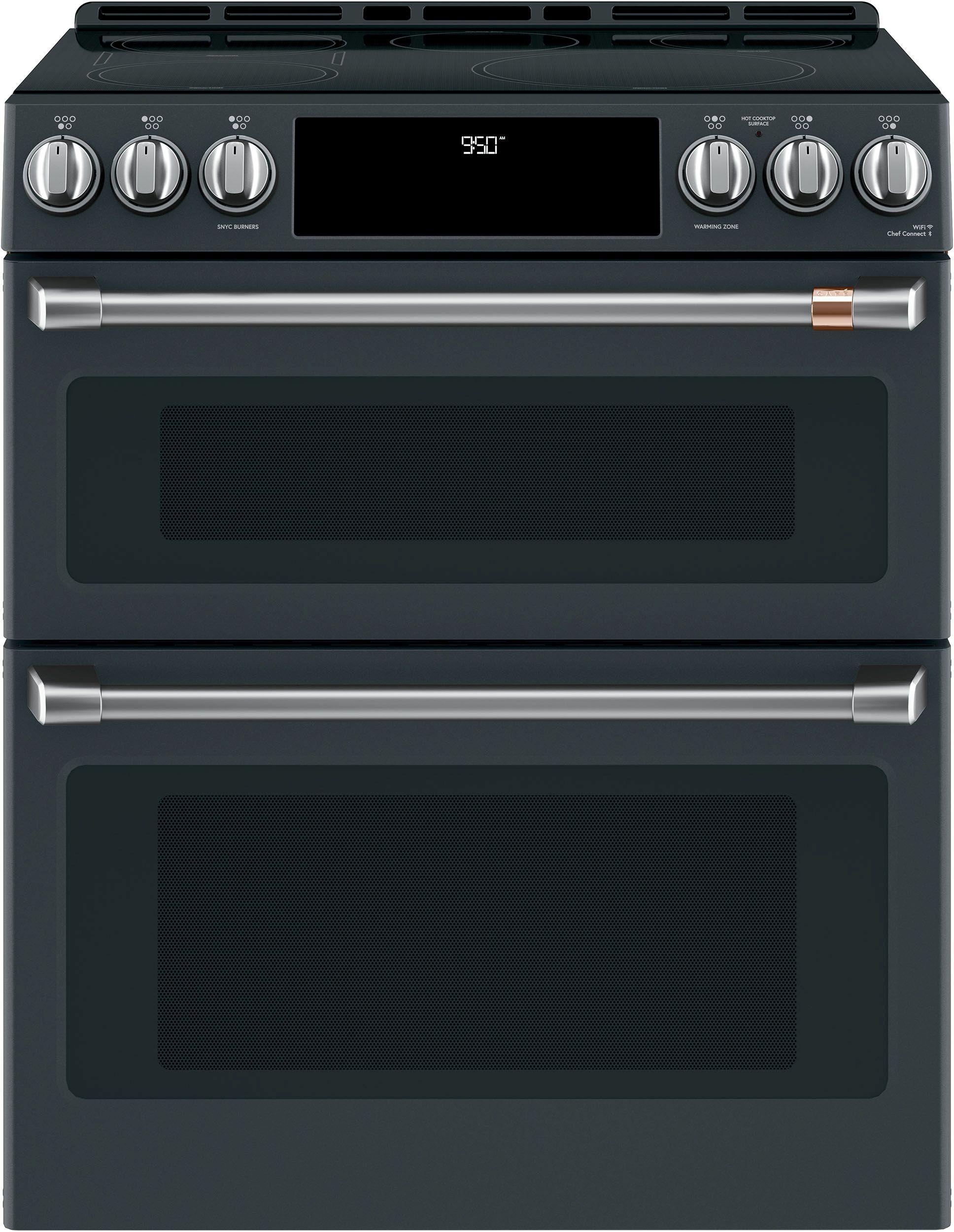 caf 30 slide in double oven electric range matte black chs950p3md1 kitchen appliances. Black Bedroom Furniture Sets. Home Design Ideas