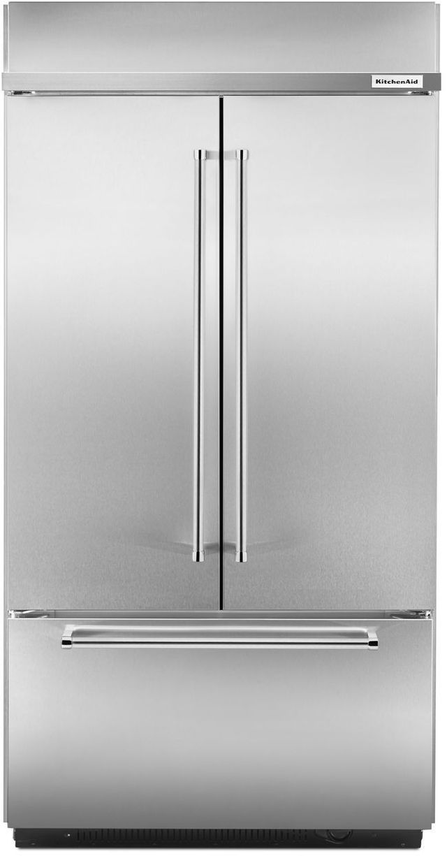 KitchenAid® 24.17 Cu. Ft. Stainless Steel Built In French Door  Refrigerator-KBFN502ESS