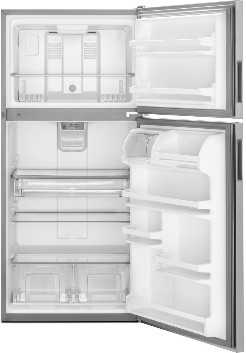 Maytag 21 Cu Ft Top Freezer Refrigerator Monochromatic Stainless