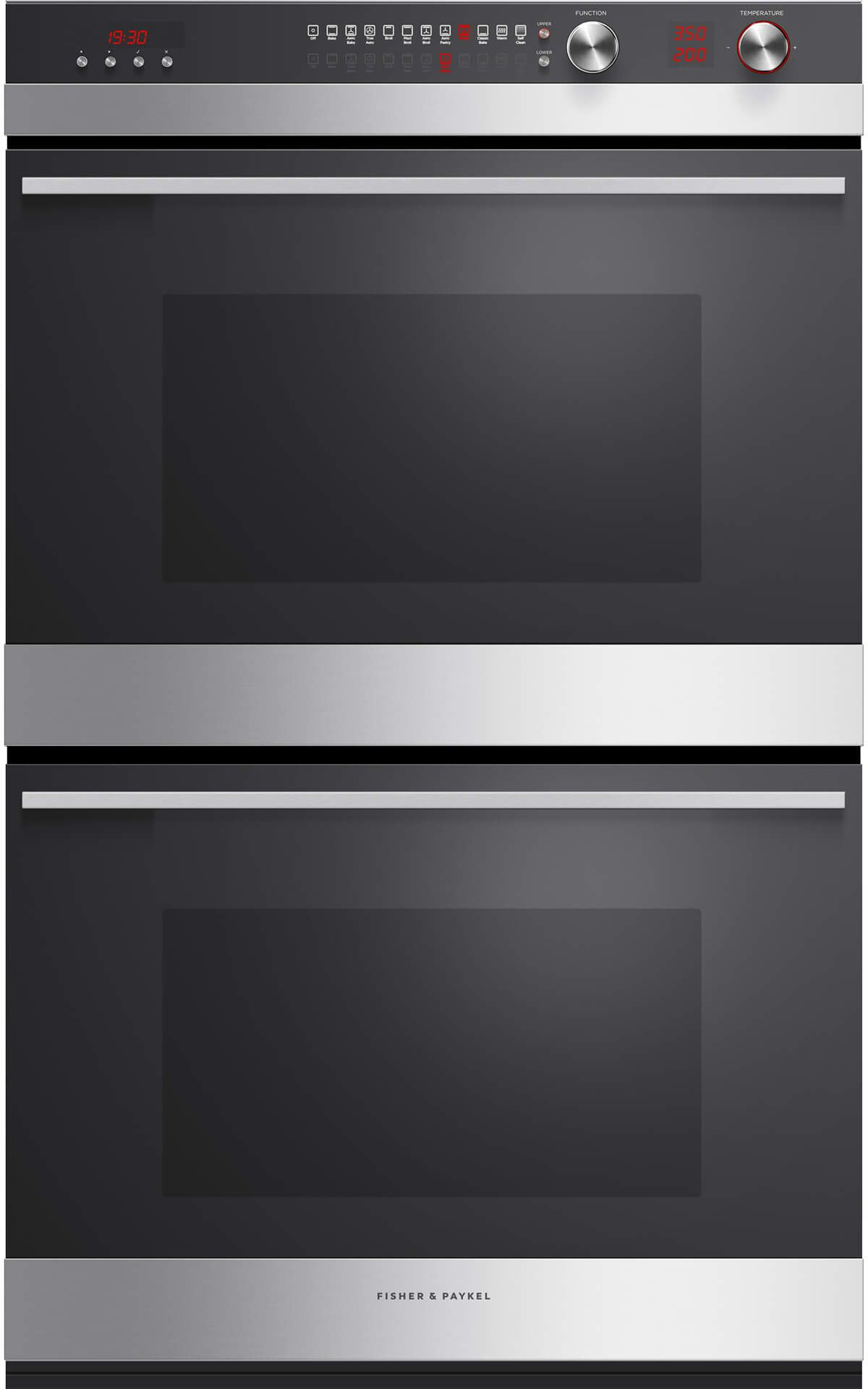 Fisher Paykel 30 Electric Double Oven Built In Brushed Stainless Steel With Black Gl