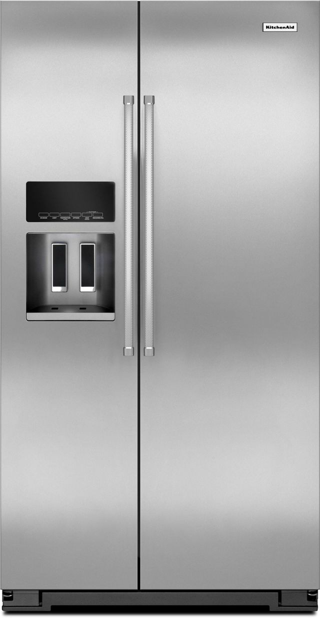 KitchenAid® 19.85 Cu. Ft. Monochromatic Stainless Steel Counter Depth  Side-By-Side Refrigerator-KRSC500ESS
