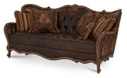 Alco Furniture Lavelle Melange Leather Fabric Wood Trim Tufted Sofa 54915 Choco