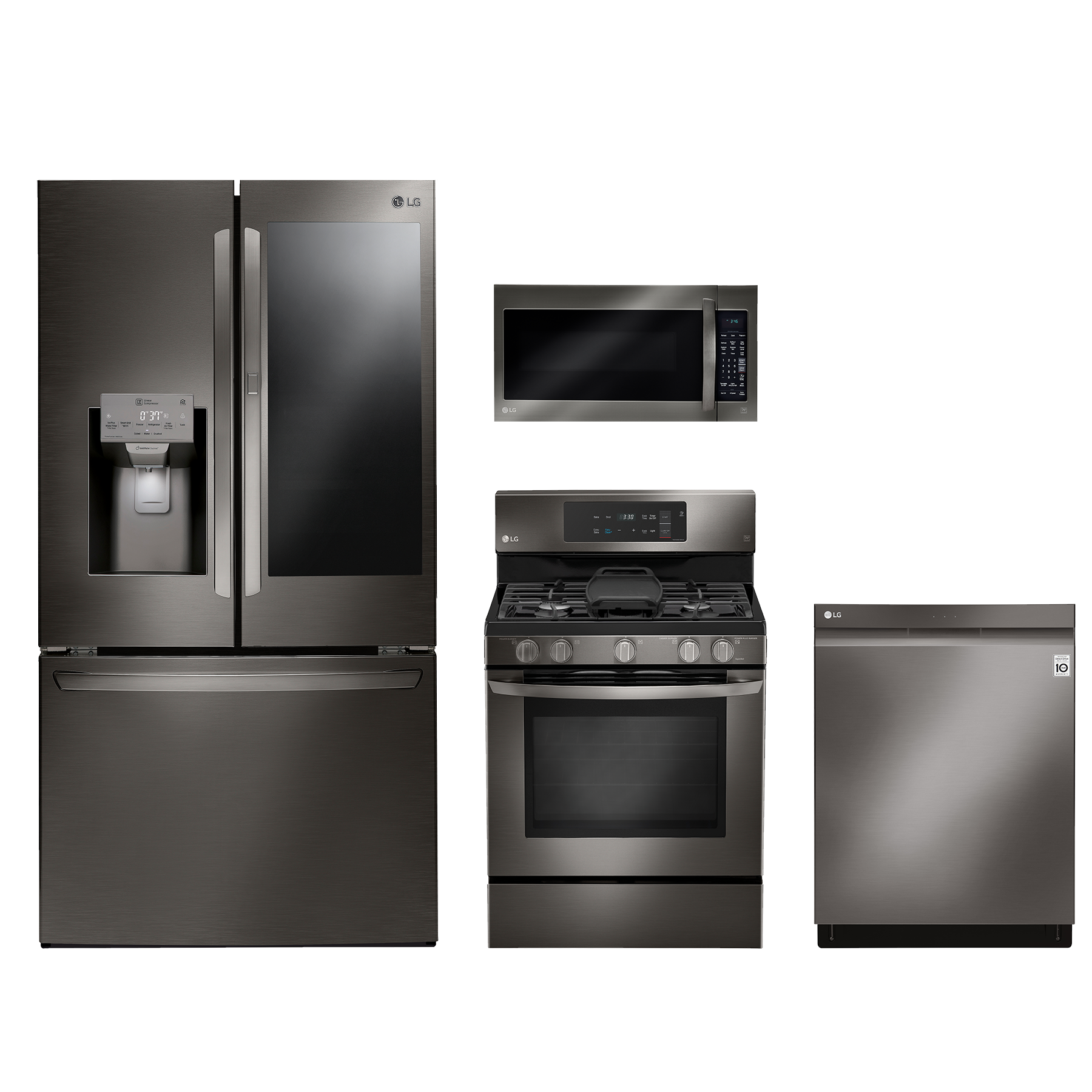 LG 4 Piece Kitchen Package Black Stainless Steel LGKITLFXS28596D