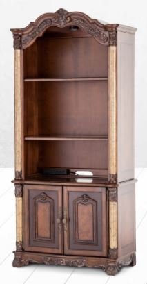 bookcase styles credenza open back bookcases reproduction by furniture hutch becker american cherry