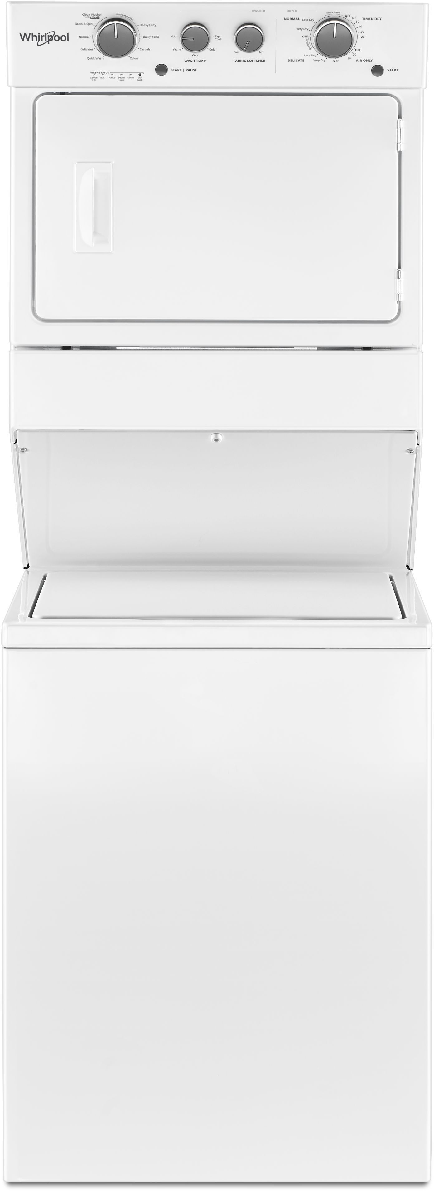 Whirlpool 174 Gas Long Vent Stacked Laundry White Wgtlv27hw