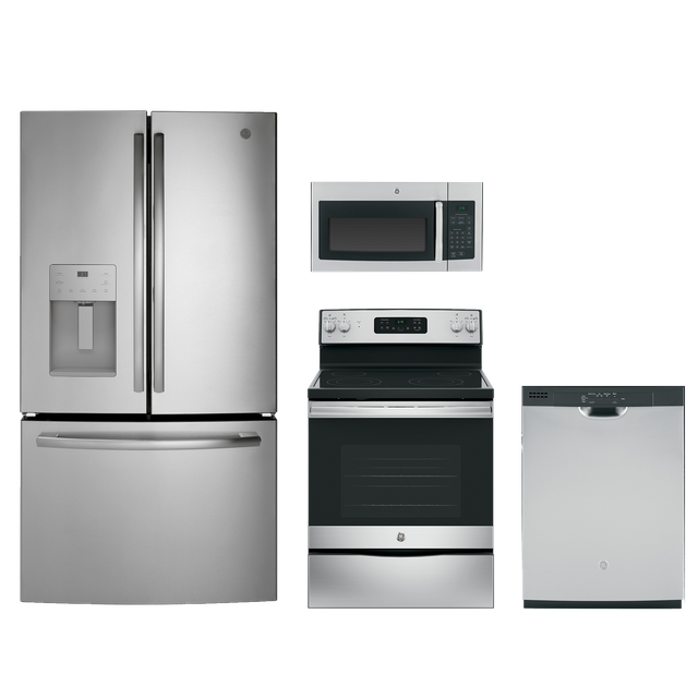 GE® 4 Piece Kitchen Package-Stainless Steel-GEKITGFE26JSMSS