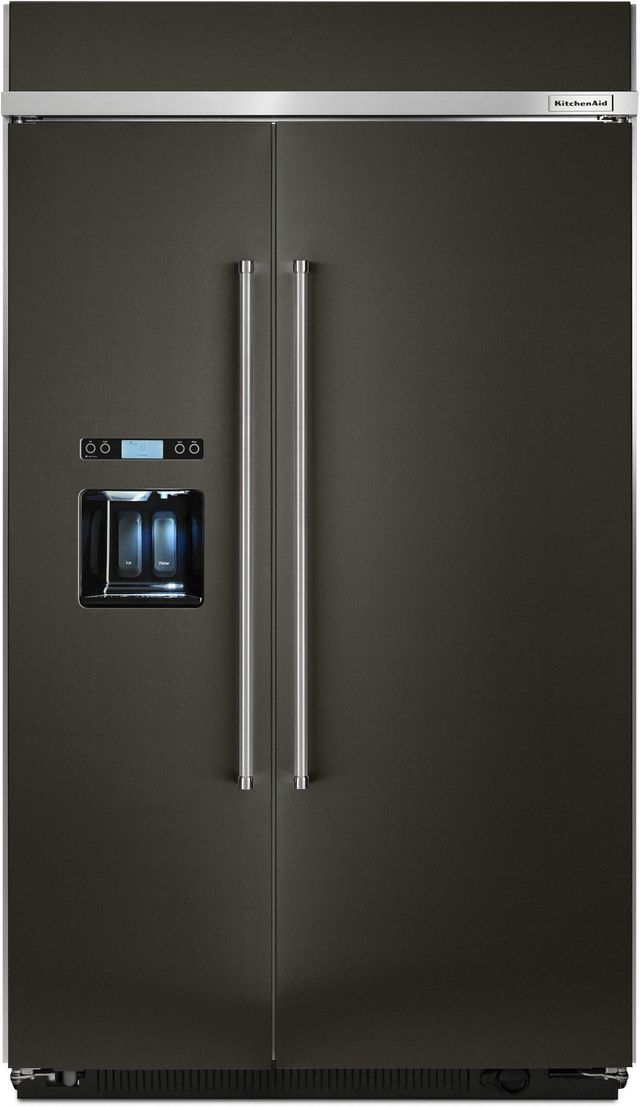KitchenAid® 29.52 Cu. Ft. Black Stainless Steel with PrintShield™ Finish  Built In Side-By-Side Refrigerator-KBSD608EBS