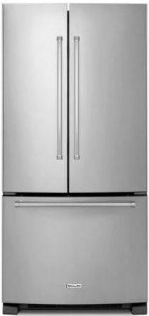 KitchenAid® 22 Cu. Ft. Stainless Steel French Door Bottom Freezer  Refrigerator-KRFF302ESS