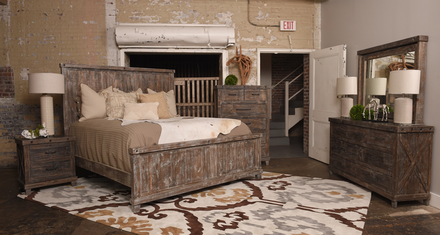 Vintage Furniture Industrial 4 Piece Barnwood Queen Bedroom  Set-F-JONINDUQBW+DREBW+MIBW+2DBW