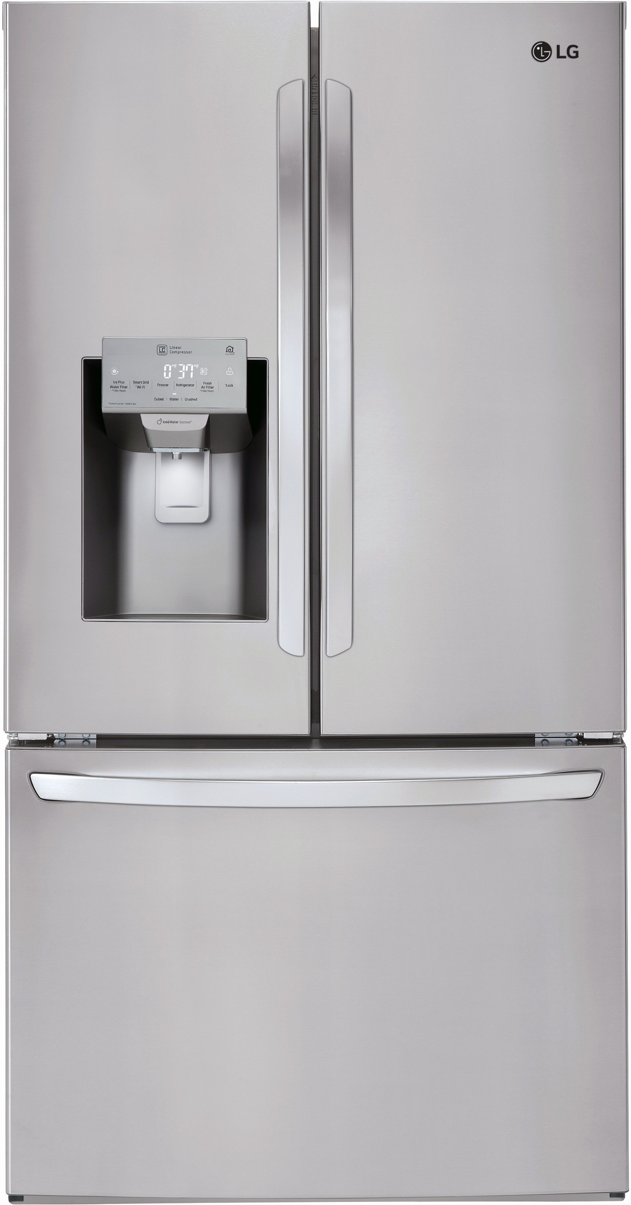 LG 22 Cu. Ft. Counter Depth French Door Refrigerator Stainless  Steel LFXC22526S ...