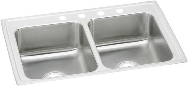 Elkay® Lustertone Classic 18 Gauge Stainless Steel Equal Double Bowl  Drop-in ADA Kitchen Sink-LRAD291850MR2