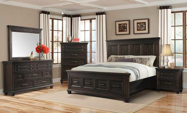 Elements International McCabe 4 Piece King Bedroom Set-MB600KB+DR+MR+NS