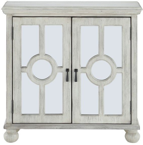 Homelegance 174 Polly Antique White Accent Chest With Mirror