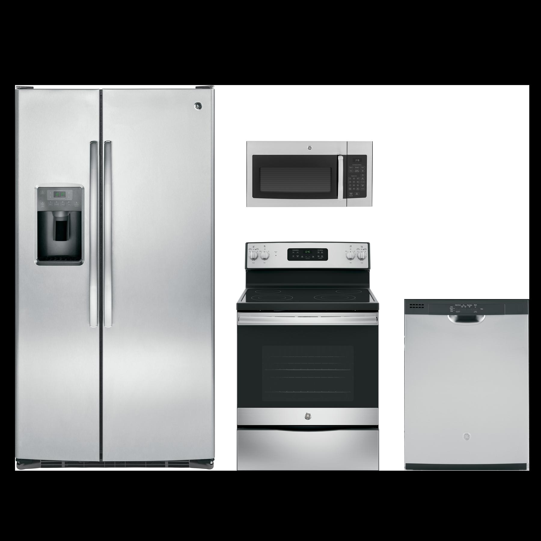 GE® 4 Piece Kitchen Package-Stainless Steel-GEKITJB645RKSS
