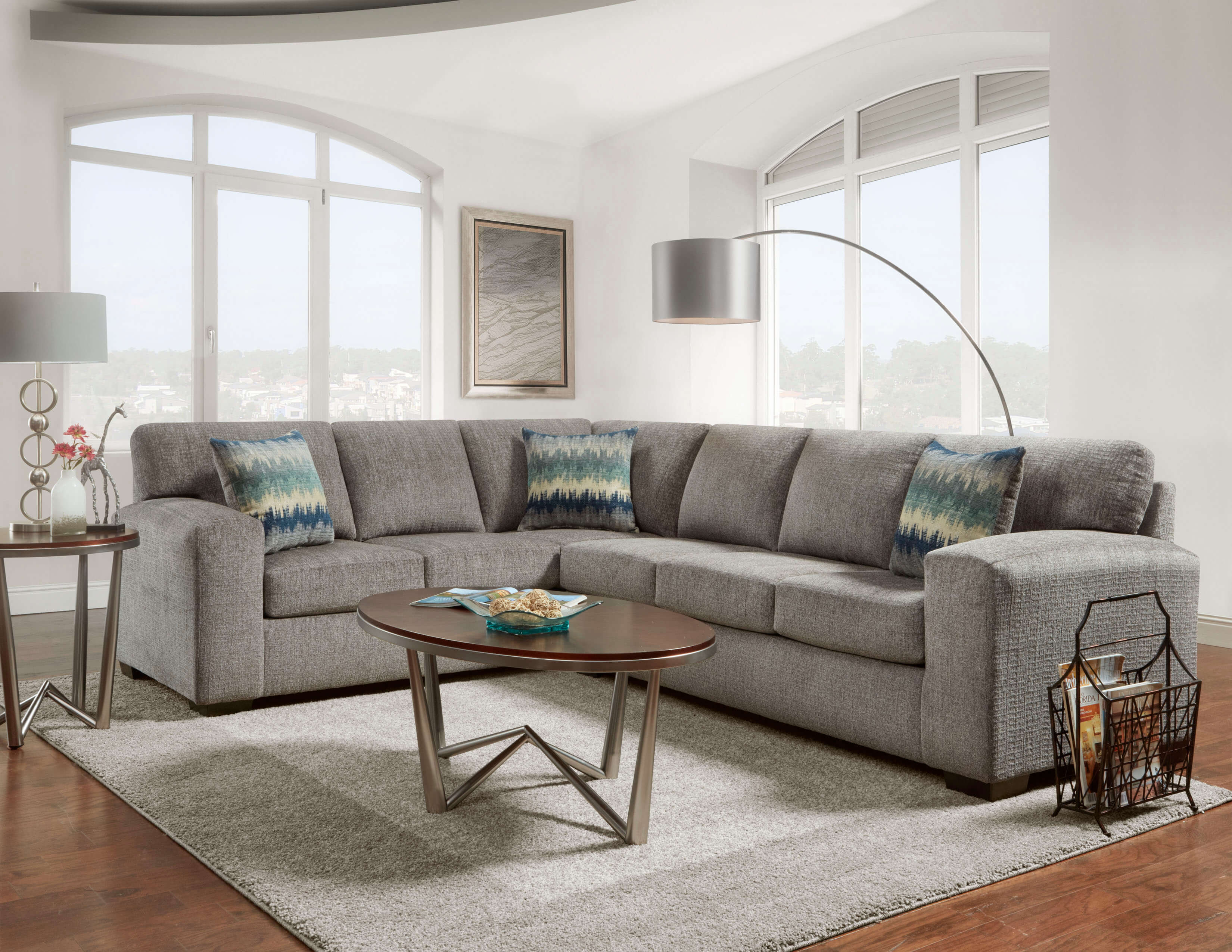Affordable Furniture Silverton Pewter 2 Piece Sectional Sofa 5951 5952 Sandy Super