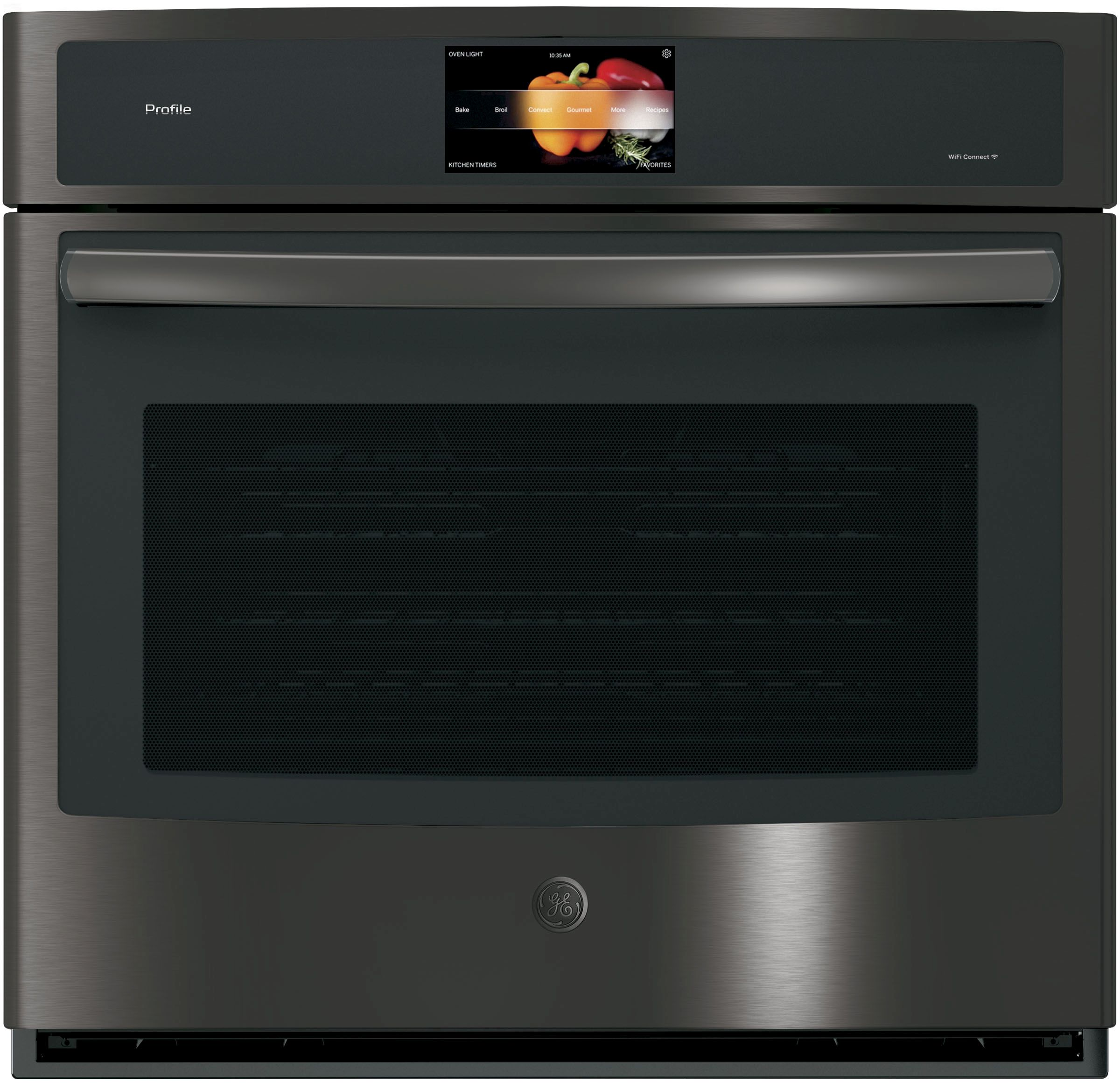 """GE Profile™ Series 30"""" Electric Single Wall Oven Built In-Black Stainless  Steel"""