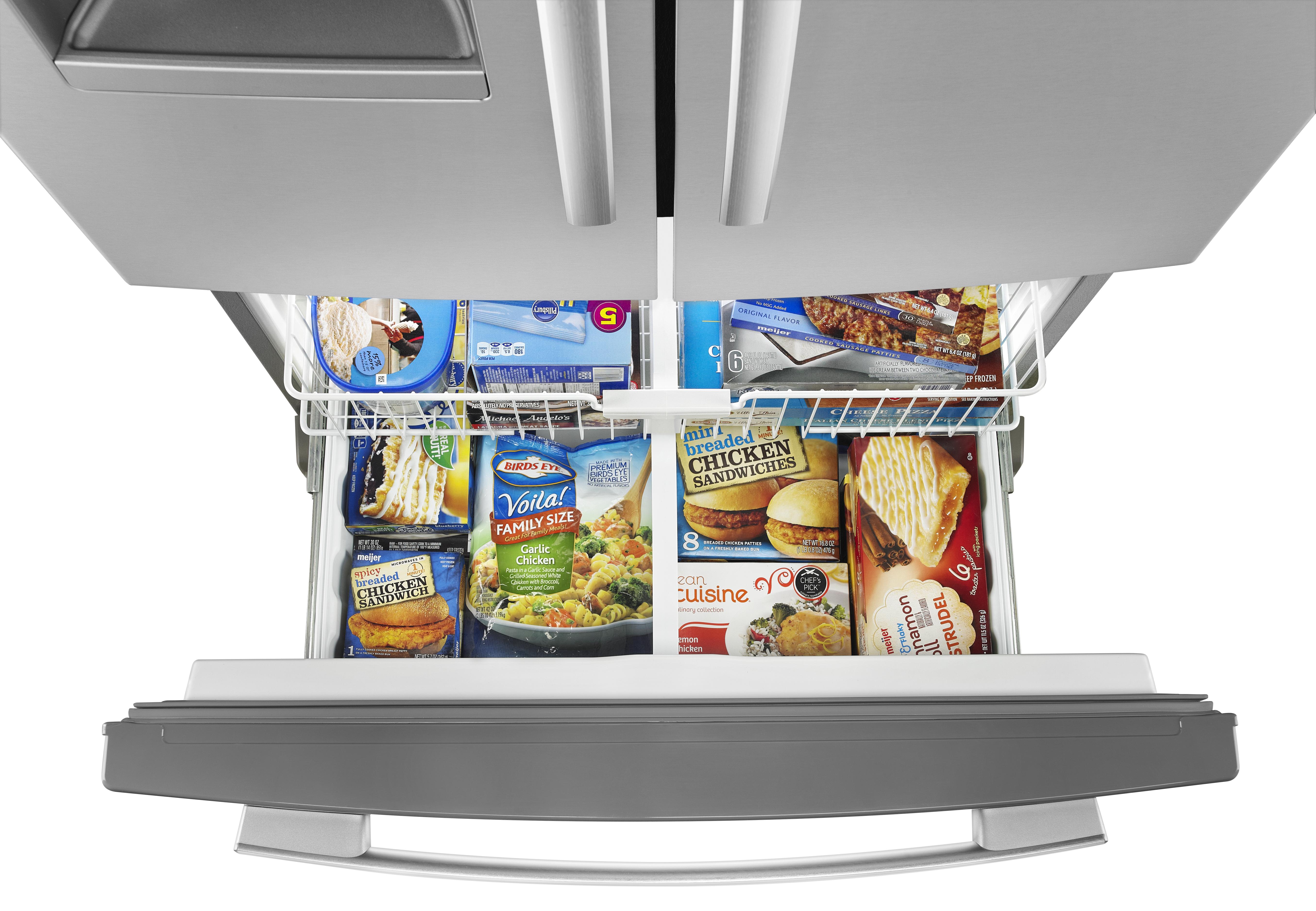 Amana 25 Cu Ft French Door Bottom Freezer Refrigerator Stainless Lock Ampamp Ordinary Crisper Hpl932d700ml 247 Monochromatic Steel