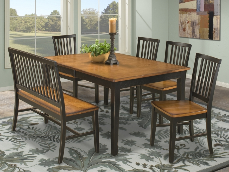 Bon Intercon Arlington 6 Piece Dining Table And Chair Set With Bench AR TA