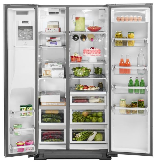 KitchenAid® 22.65 Cu. Ft. Monochromatic Stainless Steel Counter Depth  Side-By-Side Refrigerator-KRSC503ESS