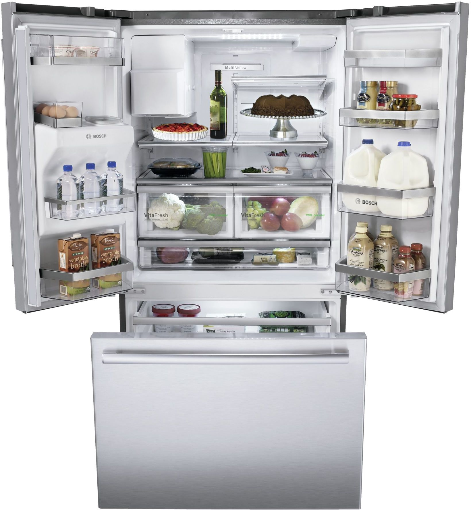 Bosch 800 Series 26 Cu Ft French Door Refrigerator Stainless Steel