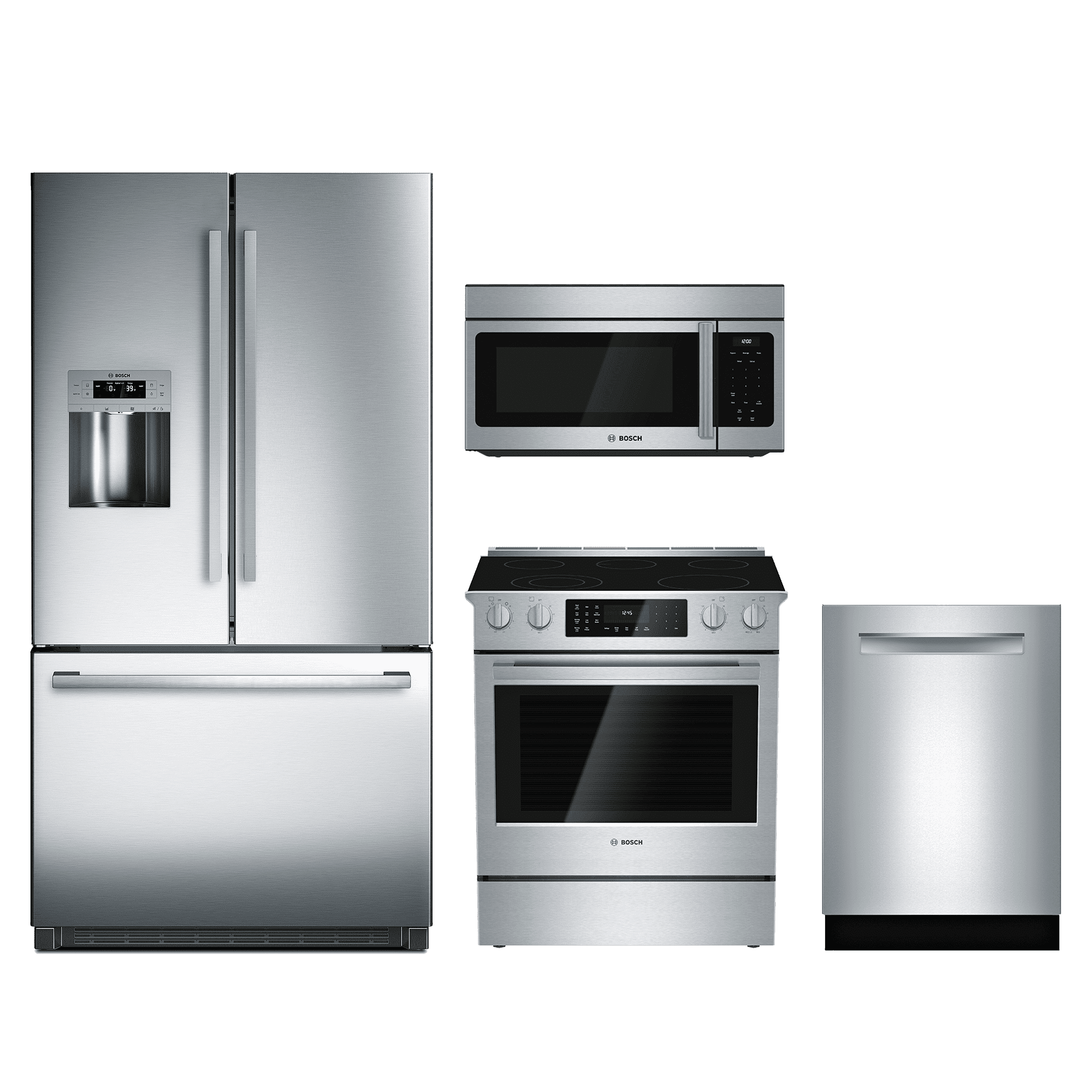 Kitchenaid 4 Piece Kitchen Appliance Package With Electric: Bosch 800 Series 4 Piece Kitchen Package-Stainless Steel