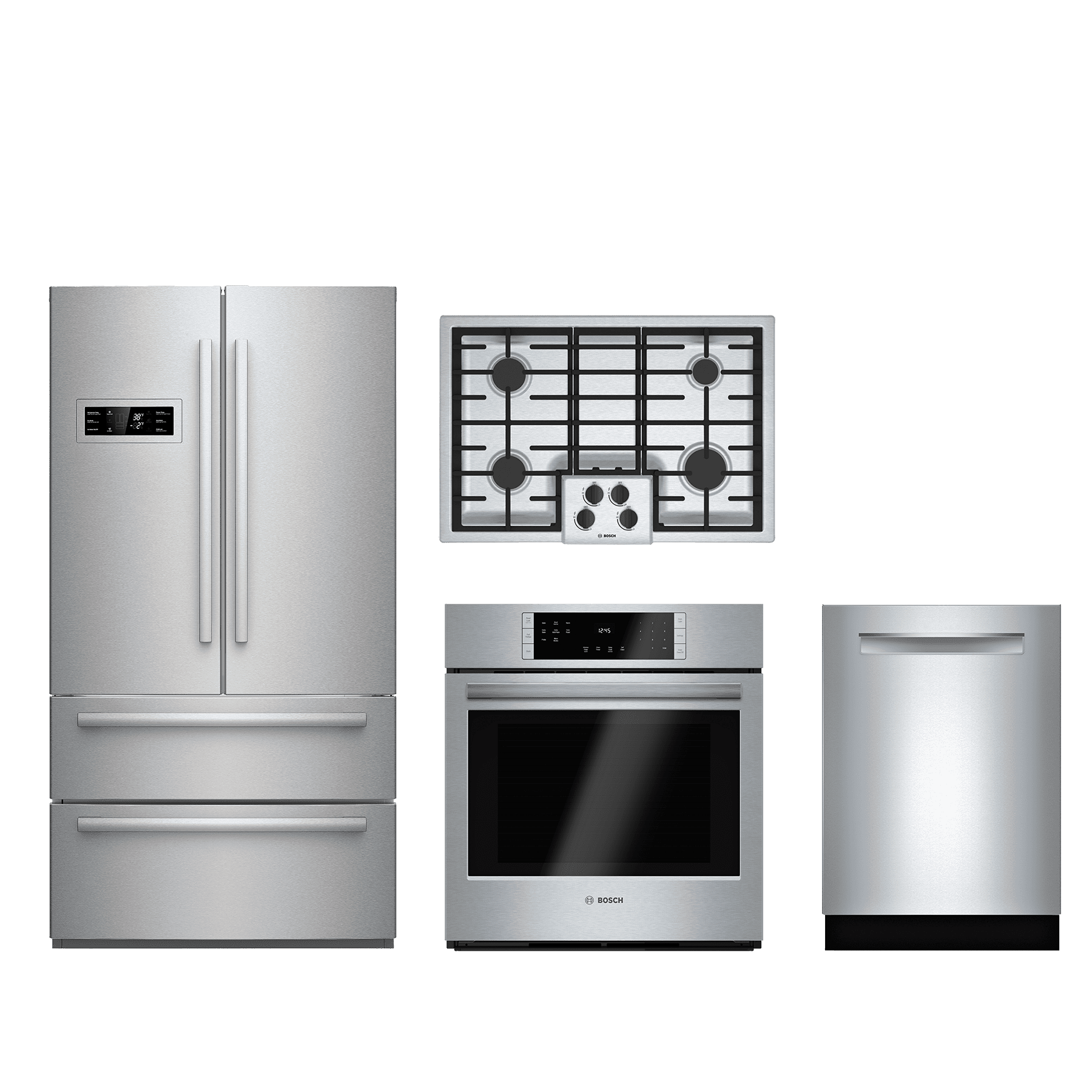 Bosch 4 Piece Kitchen Package Stainless Steel Bokitngm5055uc