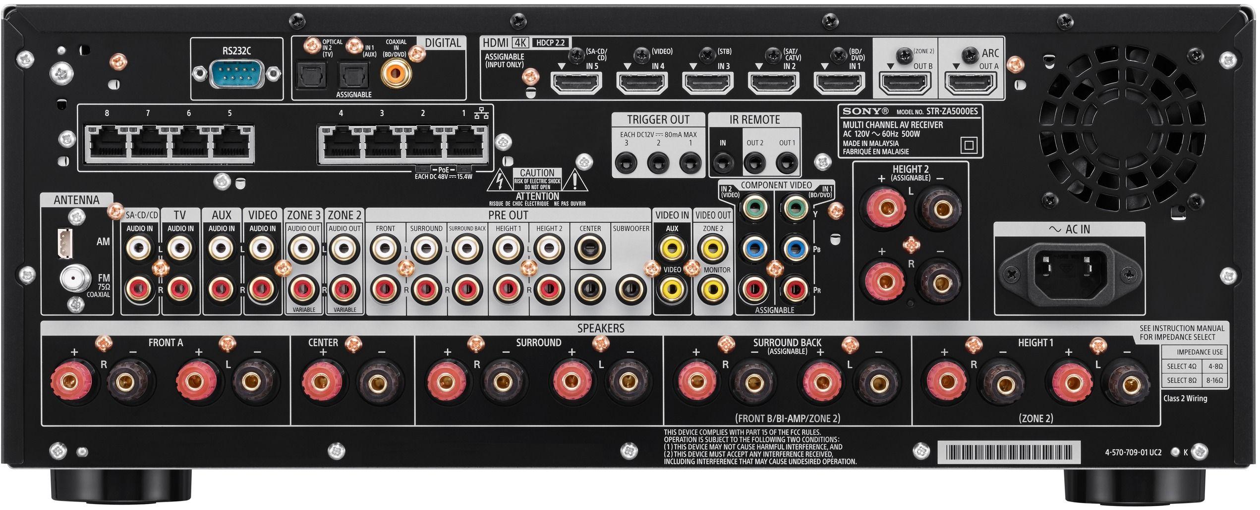 Sony® ES 9 2 Channel 4K AV Home Theater Receiver-STRZA5000ES