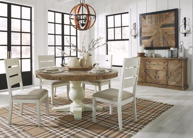 Signature Design by Ashley® Grindleburg 5-Piece Light Brown/Antique White  Round Dining Room Table Set-D754-50T+50B+4X01