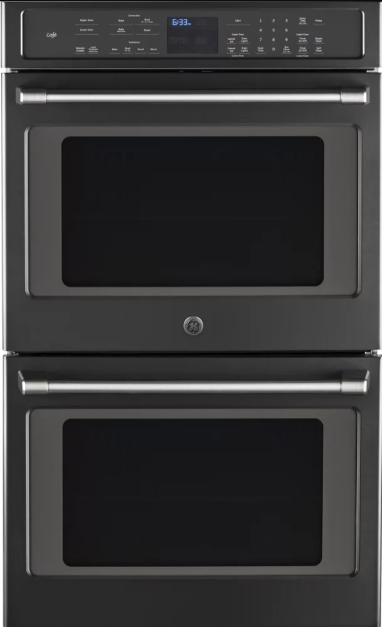 Ge Cafe Series 30 Electric Built In Double Convection Wall Oven Black