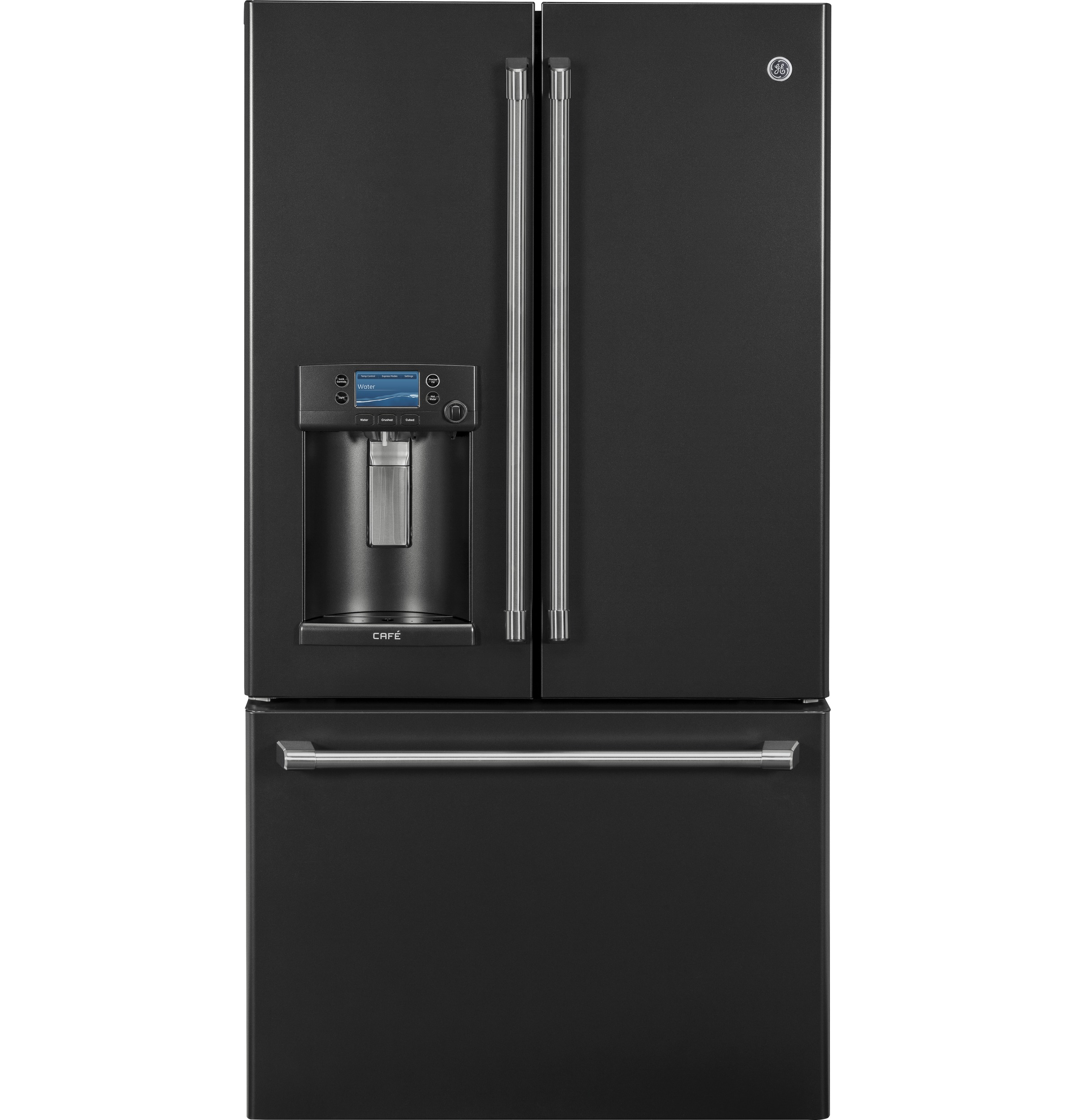 GE Cafe™ Series 22.2 Cu. Ft. Counter Depth French Door Refrigerator Black  Slate CYE22UELDS
