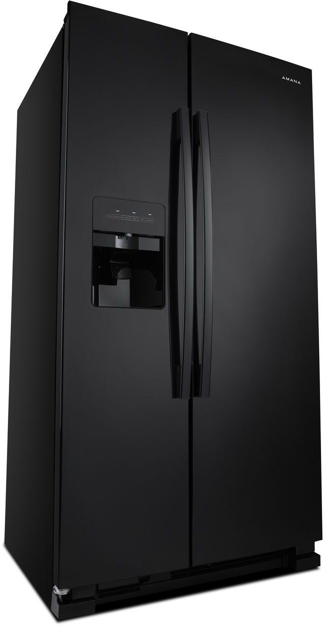 Amana® 21 41 Cu  Ft  Black Side-By-Side Refrigerator