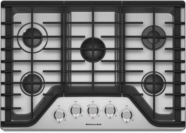 KitchenAid® 30\'\' Stainless Steel Gas Cooktop-KCGS350ESS