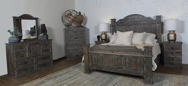Vintage Furniture Titan 4 Piece Barnwood King Bedroom  Set-F-MIC-605-KBW+DRBW+MIRBW+NSBW