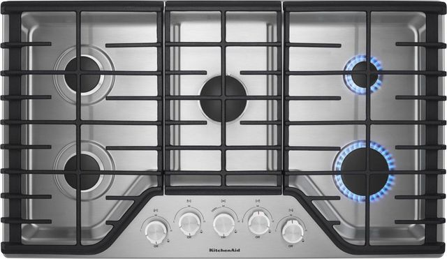 KitchenAid® 36\'\' Stainless Steel Gas Cooktop-KCGS356ESS