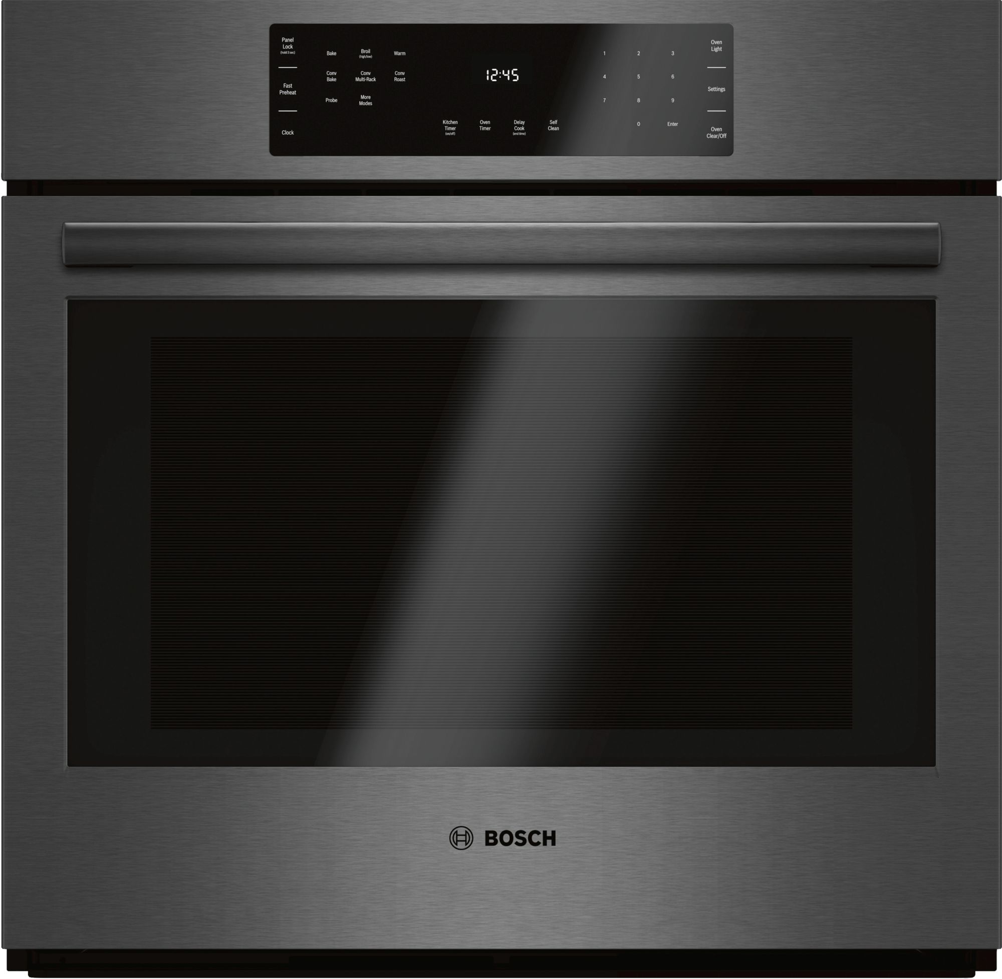 """Bosch 800 Series 30"""" Electric Single Oven Built In-Black Stainless  Steel-HBL8442UC"""