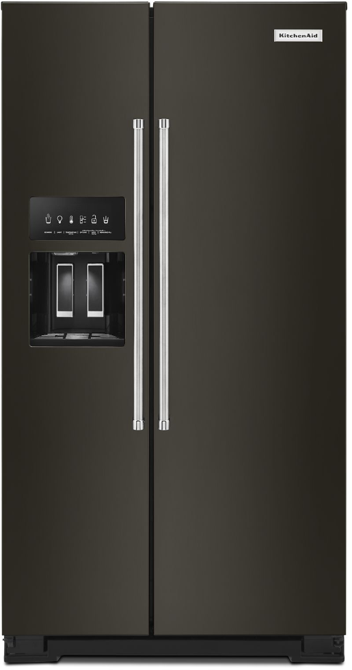 KitchenAid® 19.9 Cu. Ft. Black Stainless Steel with PrintShield™ Finish  Counter-Depth Side-by-Side Refrigerator-KRSC700HBS