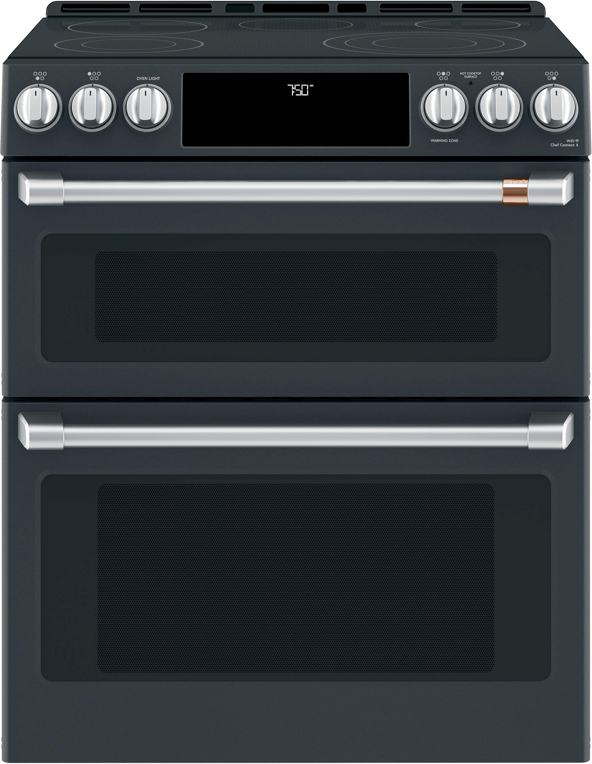 café 30 slide in double oven electric range matte black