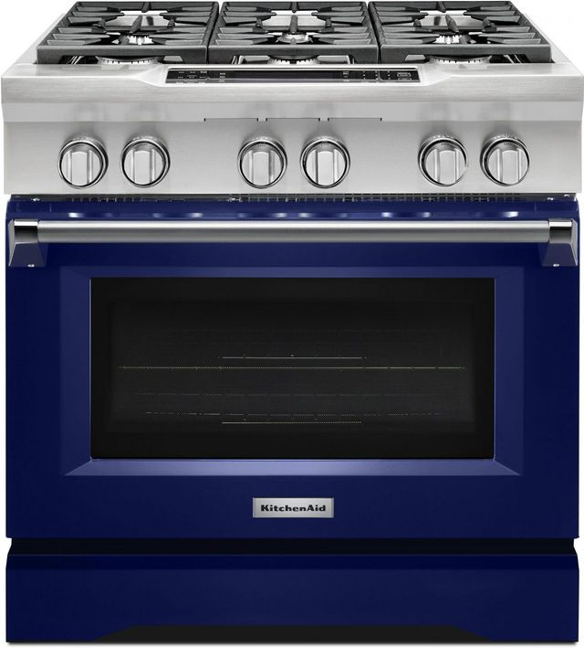 """KitchenAid® 36"""" Cobalt Blue Commercial Style Free Standing Dual ..."""