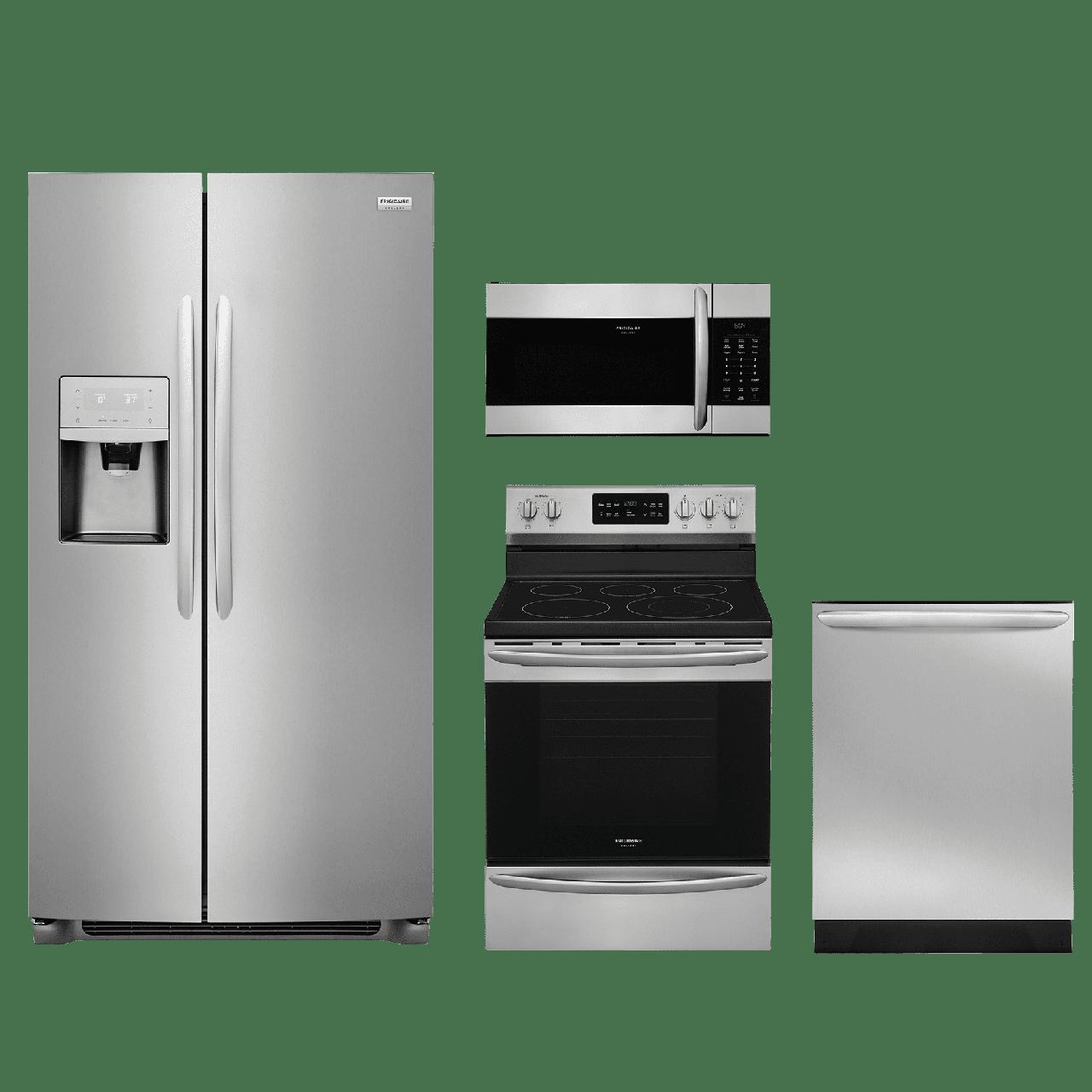 frigidaire gallery   4 piece kitchen package stainless steel  frgakitfgef3036tf kitchen appliance packages  rh   bakerbrosfurnitureandappliance com