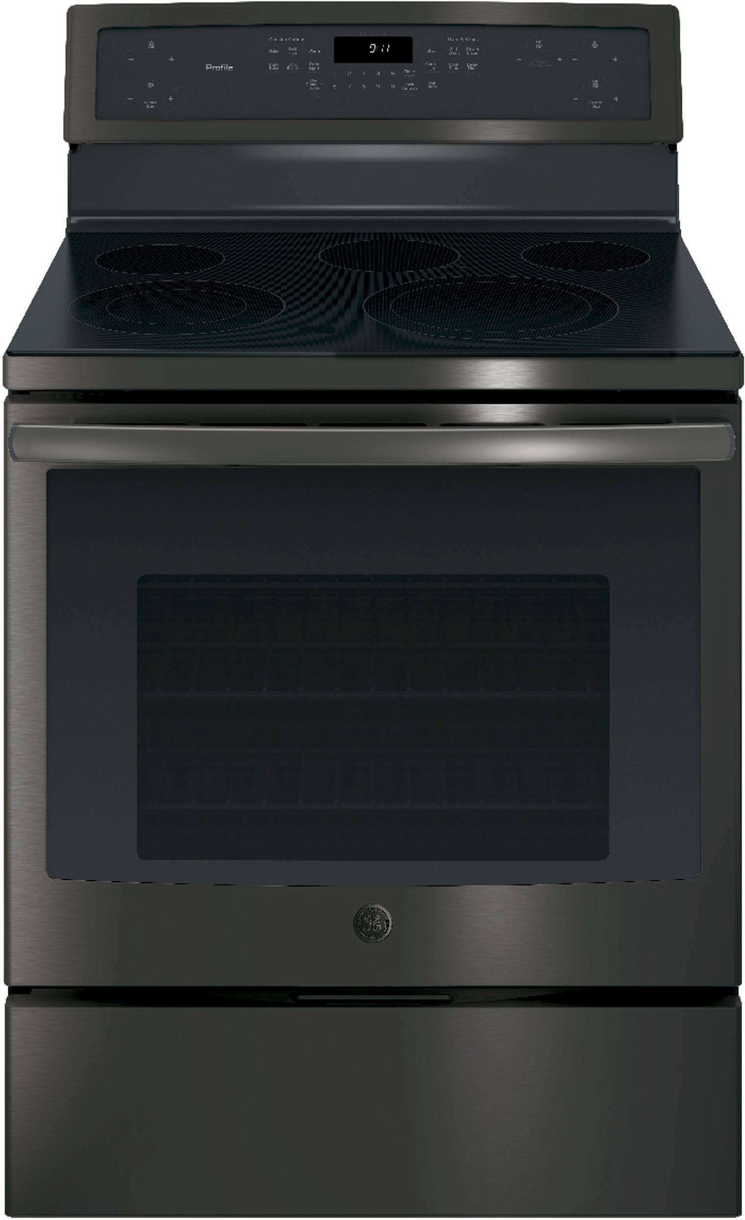 Ge Profile Series 30 Free Standing Electric Convection Range Black Stainless Steel