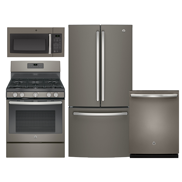Ge Slate Kitchen Package With French Door Bottom Mount Freezer