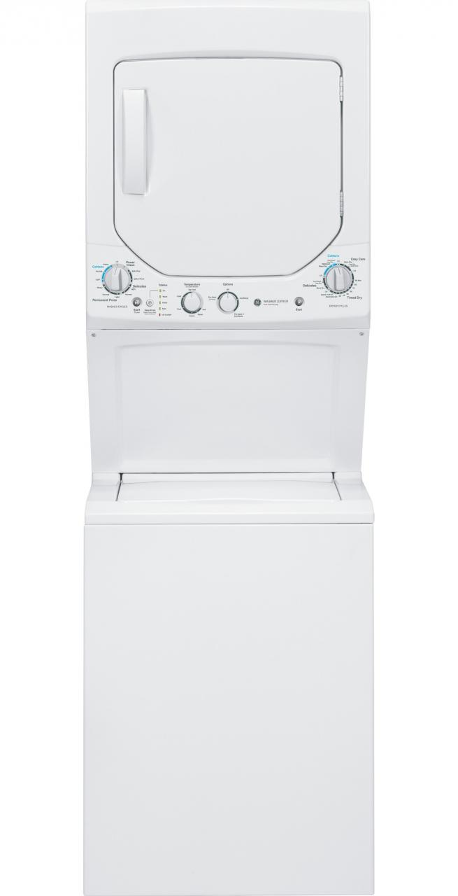 GE® Unitized Spacemaker® Electric Washer/Dryer Stack Laundry White GUD24ESSJWW  ...