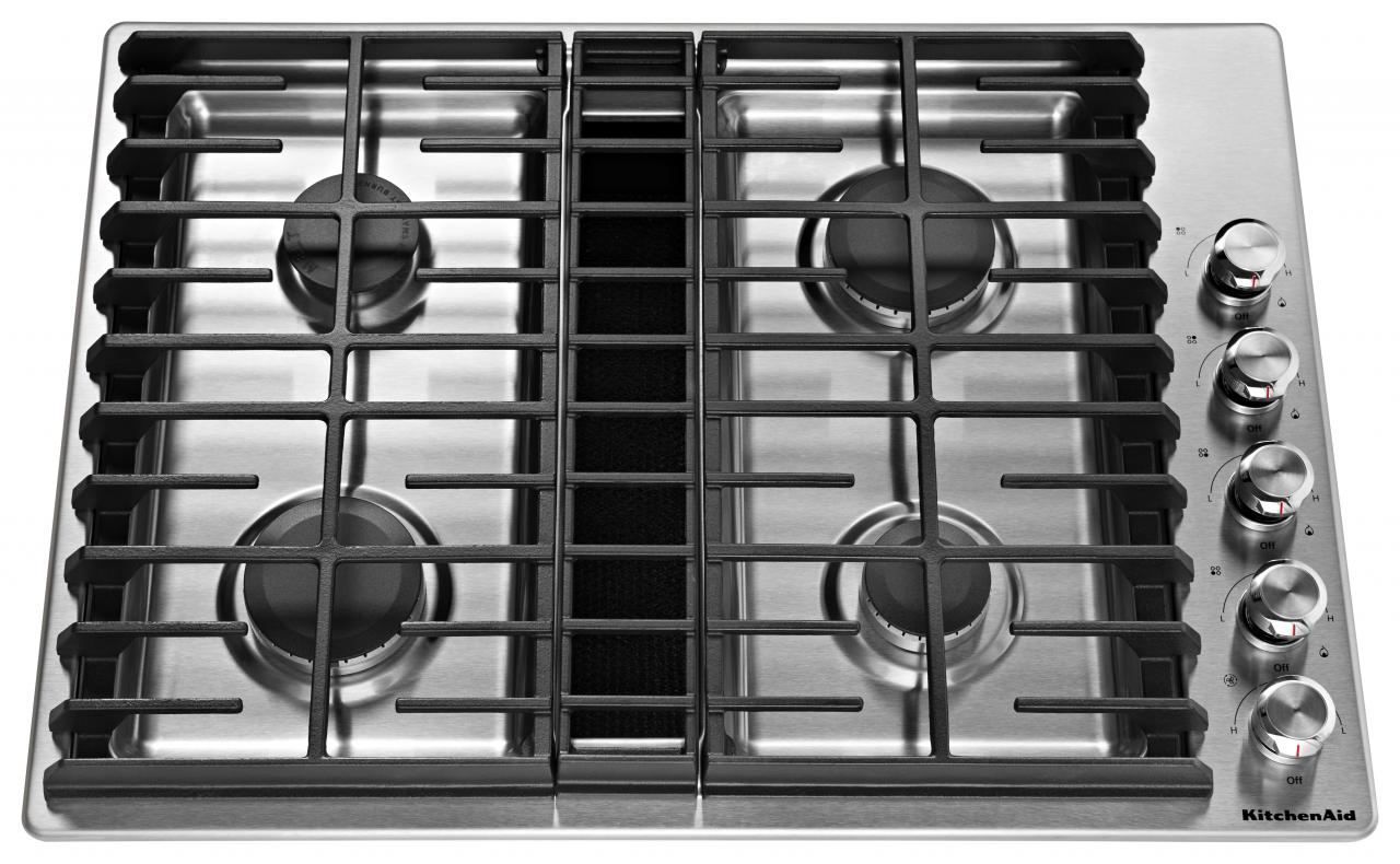 "KitchenAid® 30"" Gas Downdraft Cooktop-Stainless Steel-KCGD500GSS"