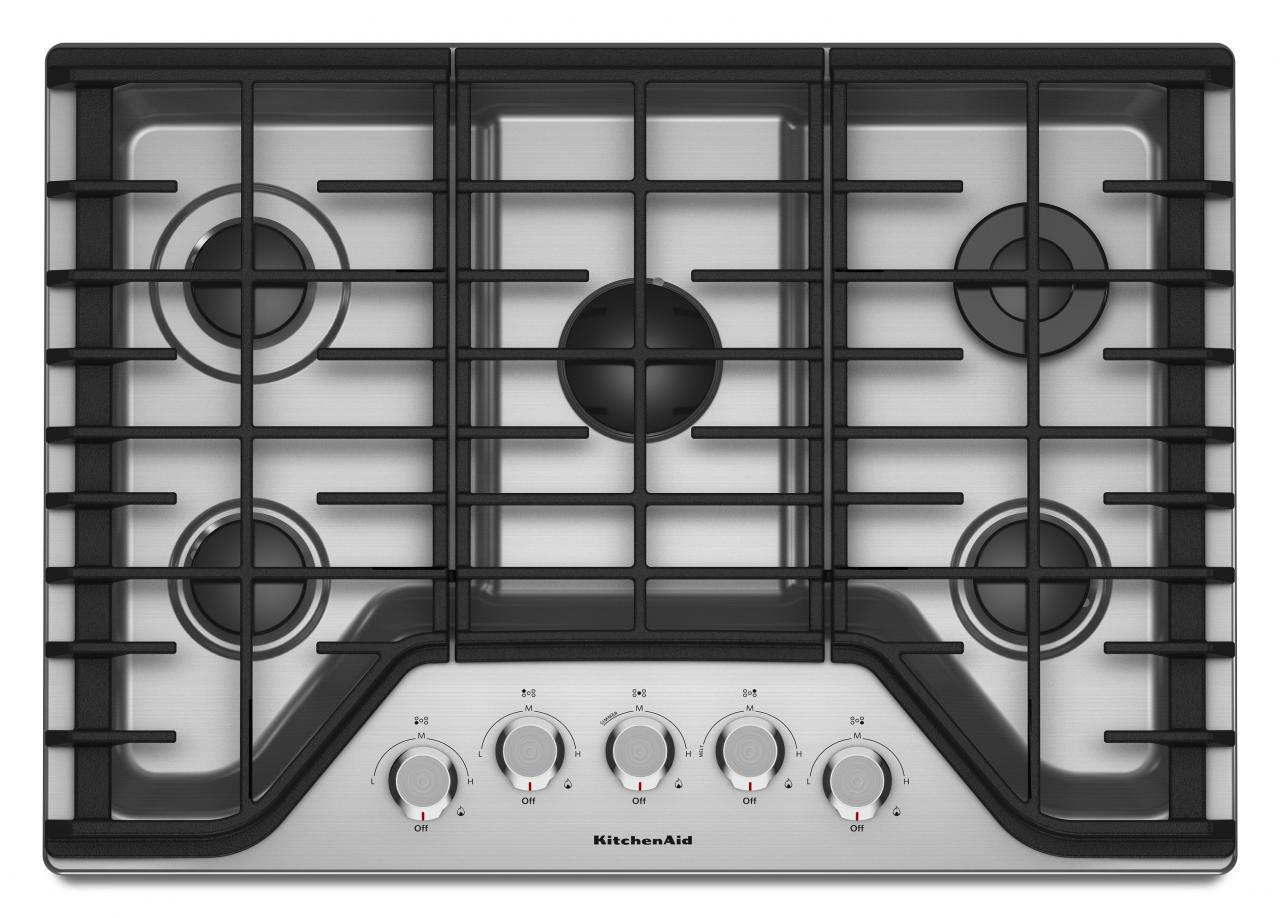 KitchenAid® 30'' Gas Cooktop-Stainless Steel-KCGS350ESS