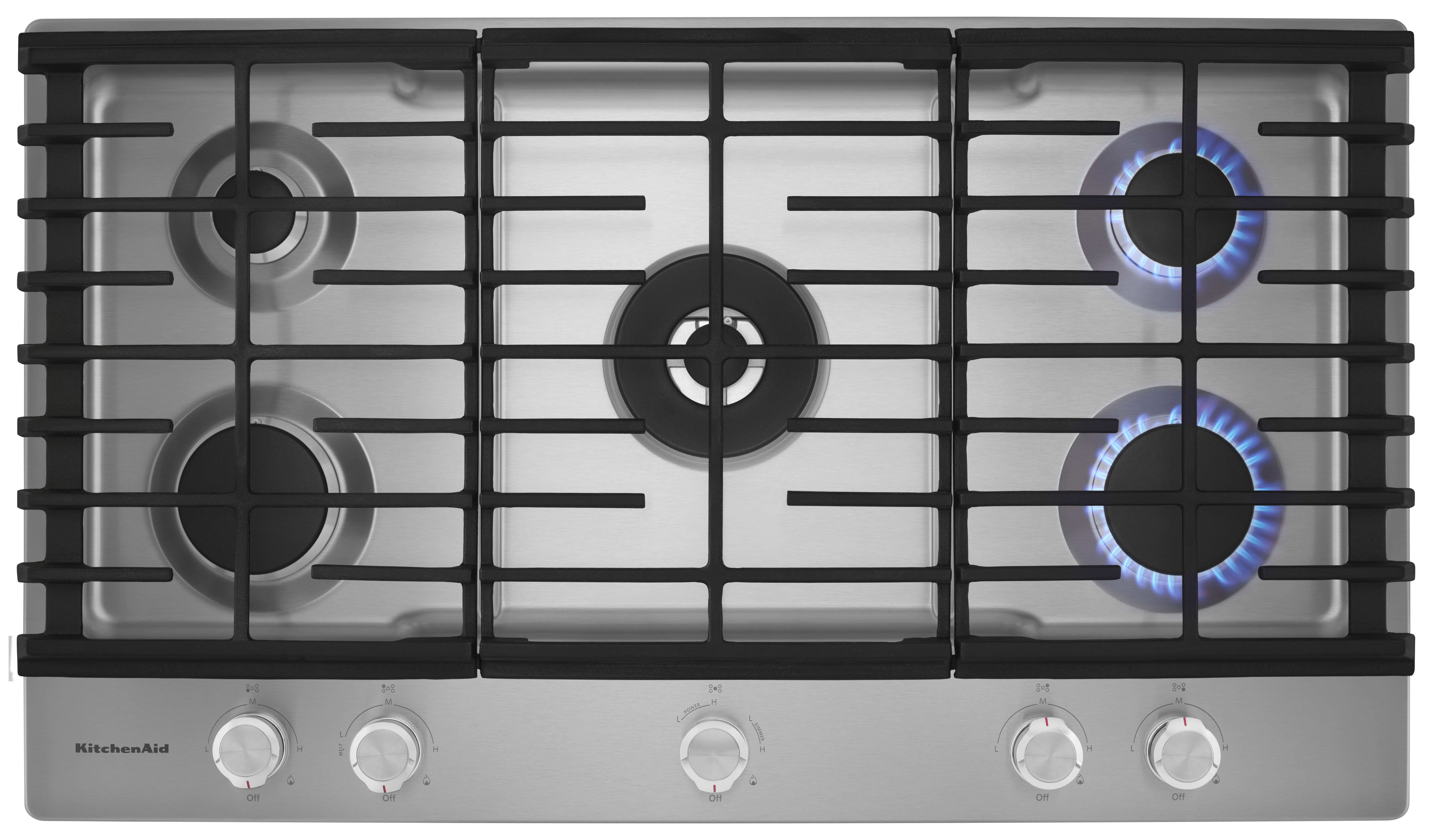 KitchenAid® 36\'\' Stainless Steel Gas Cooktop-KCGS556ESS