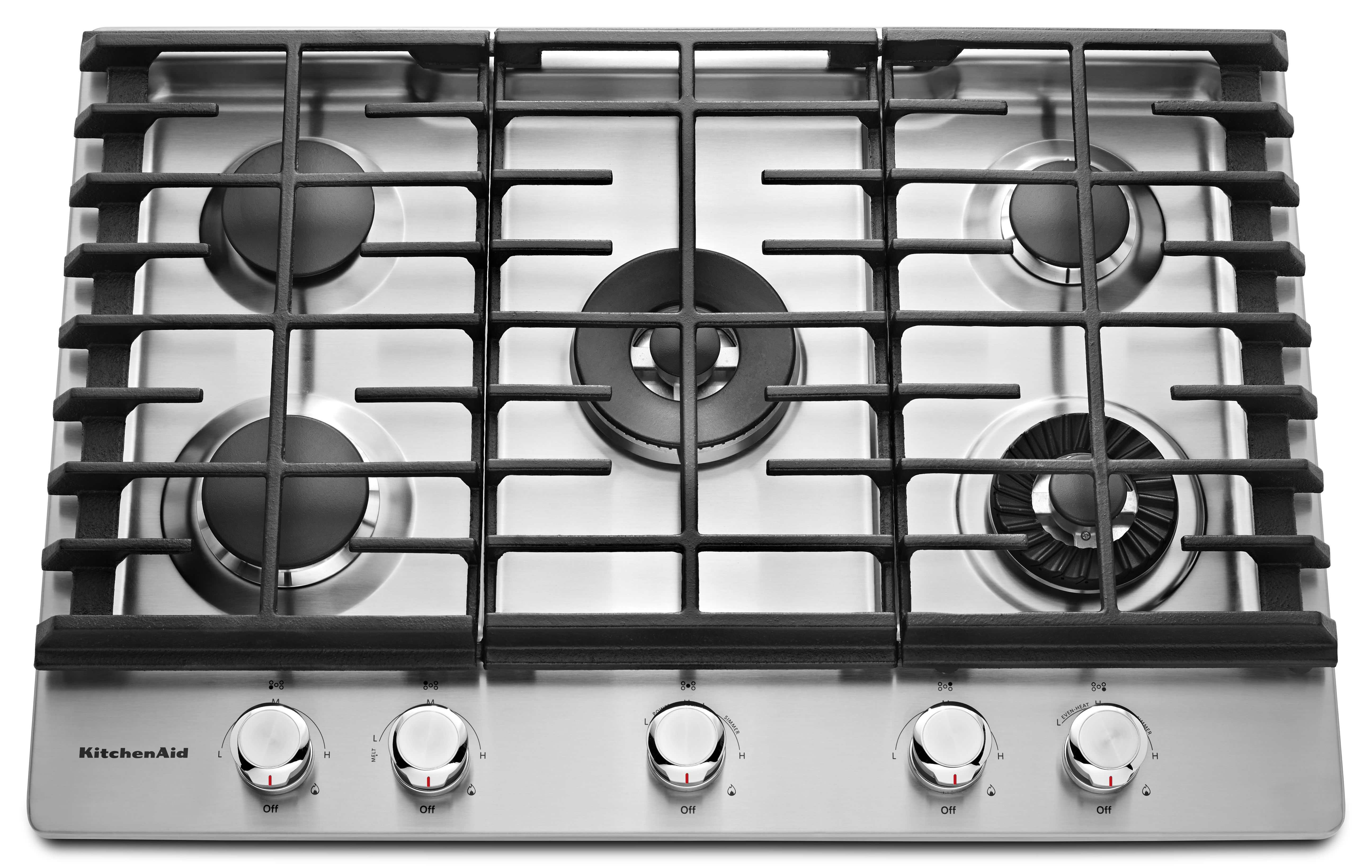 KitchenAid® 30'' Gas Cooktop-Stainless Steel-KCGS950ESS