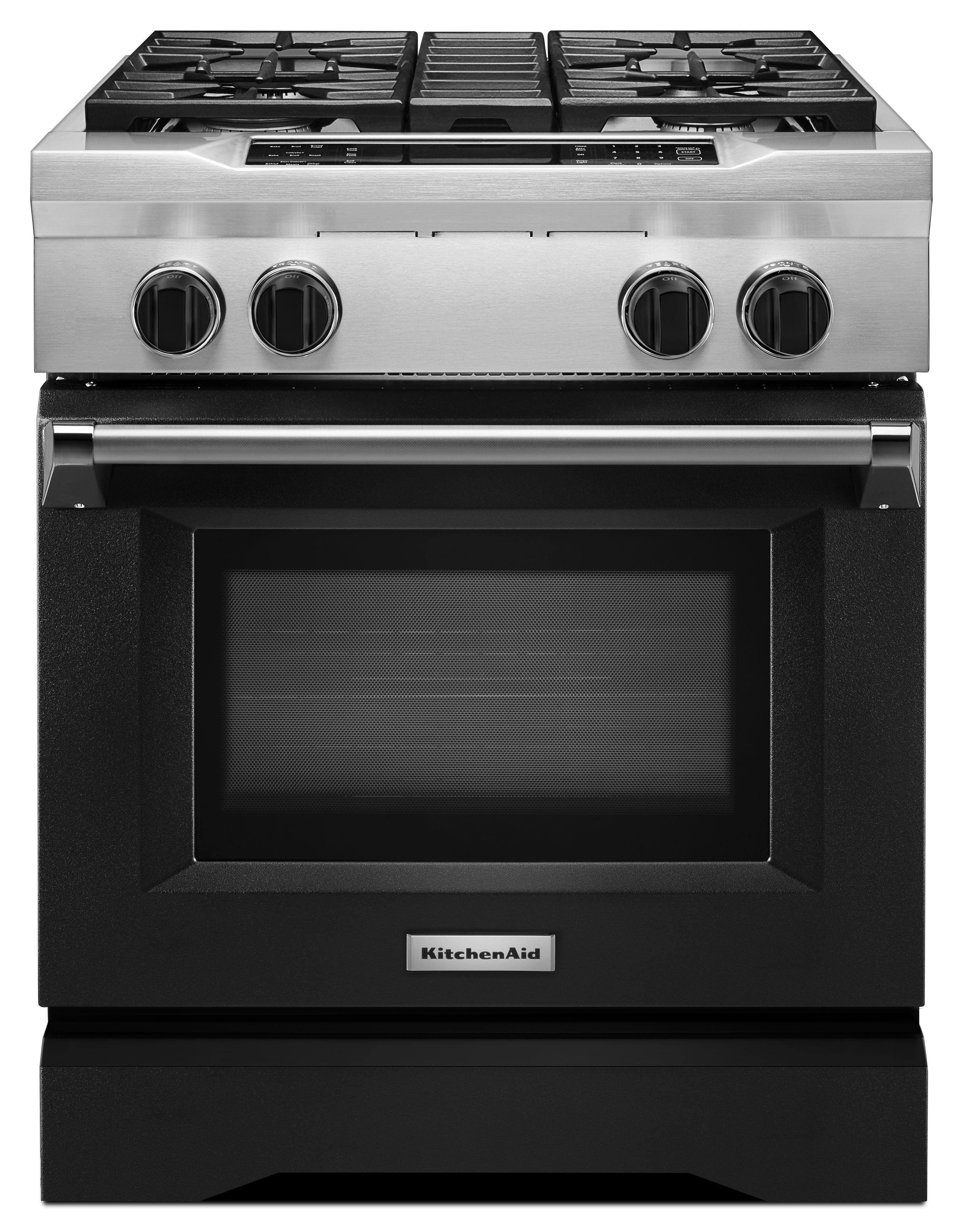 Kitchenaid Commercial Style 30 Pro Dual Fuel Range Imperial Black Kdrs407vbk
