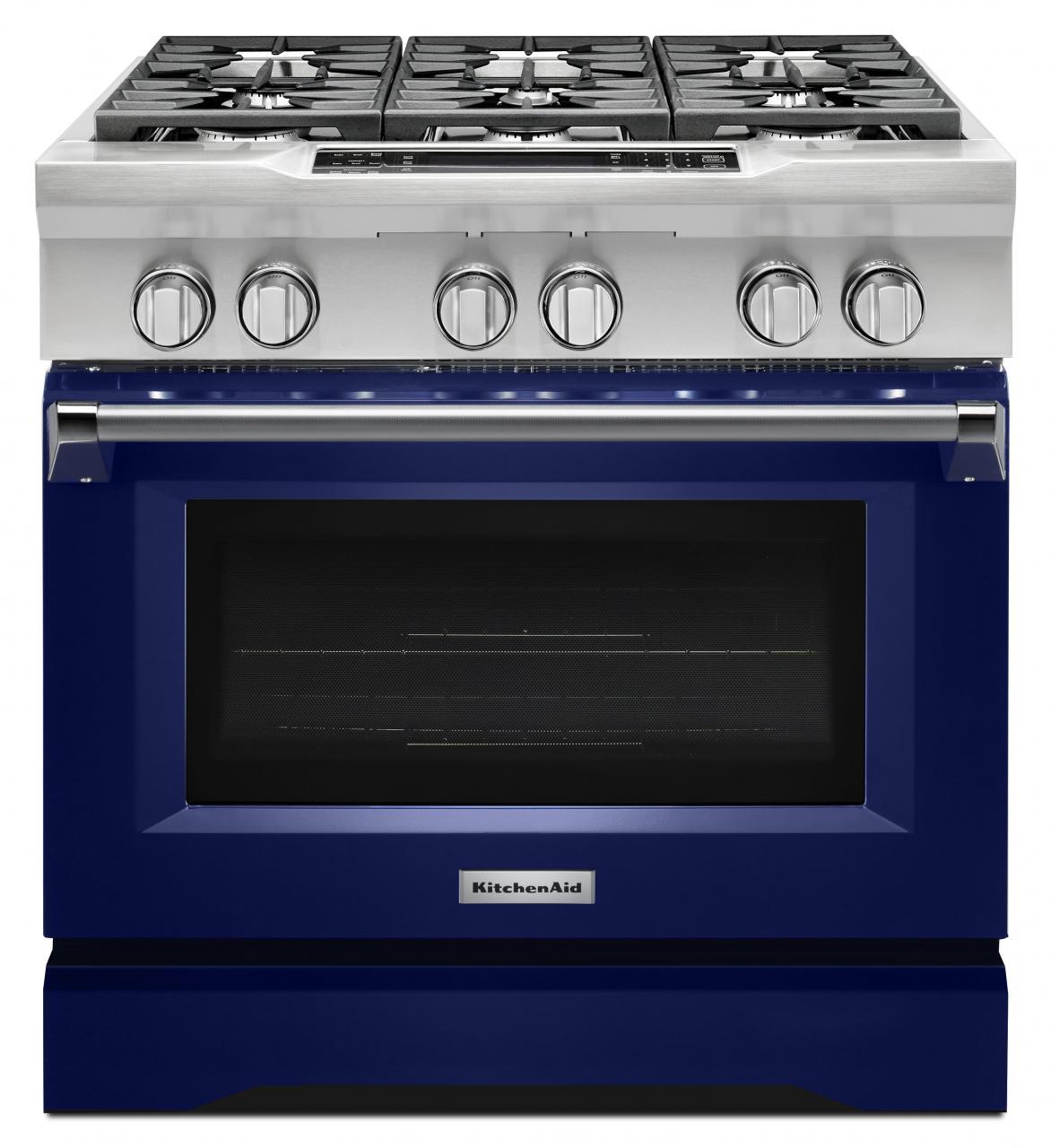 Kitchenaid Commercial Style 36 Pro Dual Fuel Range Cobalt Blue Kdrs467vbu