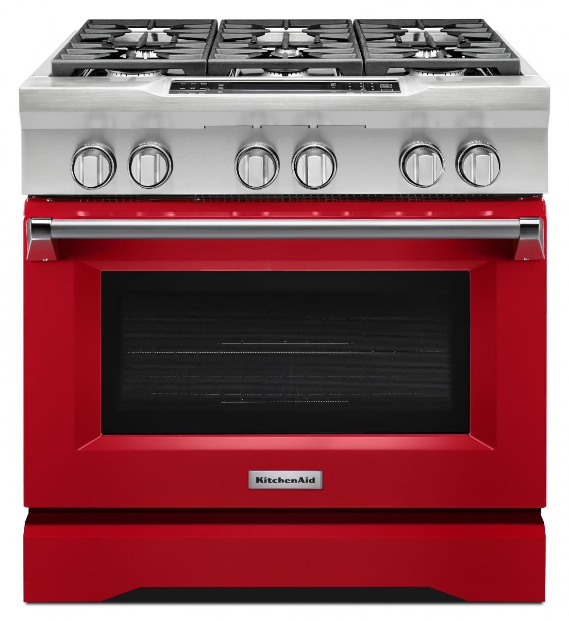 Kitchenaid Commercial Style 36 Pro Dual Fuel Range Signature Red Kdrs467vsd